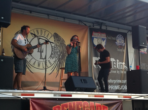 Country artist and Highway Angel spokesperson Lindsay Lawler plays with her band in Tuscaloosa, Ala., Oct. 4 at the TA off Interstate 20. The stop was one of many along Lawler's Truck Stop Tour, aimed at promoting the Highway Angel program.