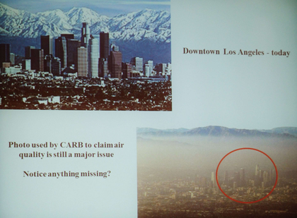 CARB used the decades-old lower picture of Los Angeles in presentations as recently as last week, said Joe Rajkovacz, illustrating the tactics the agency uses to influence public opinion.