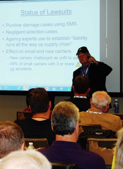 "Seaton, in his presentation at the NASTC conference, pulled out his ""golden triangle"" ballcap and put it on, designating himself a bad actor -- the golden triangle is the symbol the CSA Safety Measurement System utilizes to indicate that a carrier has a percentile ranking above a BASIC's intervention threshold."