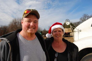 TLD Logistics driver John Dyer and Nashvile Wreaths Across America coordinator Annette Robeck