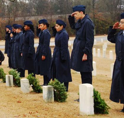 Junior ROTC salute fallen Civil war soldiers at Nashville National Cemetery