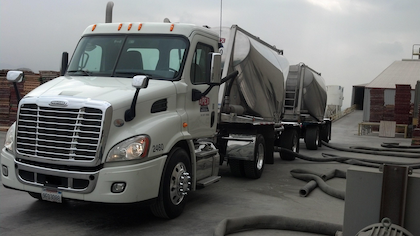 """Apex trucks are outfitted with """"permanent video cameras"""" -- """"In the beginning,"""" says company rep Denny Wyatt, """"drivers reacted negatively. But since, he adds. with clear examples of the help the cameras can be to both driver and fleet in the event of a not-at-fault crash, driver views on the cameras have improved. More than 70 percent of drivers in the fleet have converted to electronic logs, with Qualcomm software and hardware. The company takes advantage of the long combination vehicle (LCV) laws in Arizona, Nevada, Utah and Idaho to transport up to 129,000 gross weight and 45 tons of payload in units that are up to 105-feet in length. In addition, given the difficulty of return loads in specialized bulk hauling, Apex has developed a fleet of pneumatic trailers that offer separate dedicated compartments in the same trailer, Wyatt says."""
