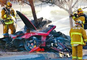 The New York Daily News published this photo of the wreck that killed Paul Walker and his friend.