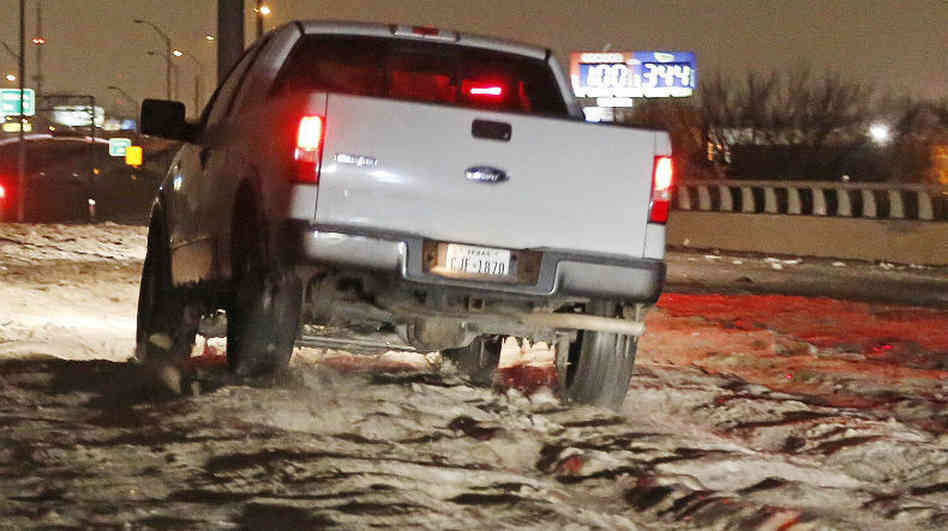 NPR gets truckers' takes on being halted by 'cobblestone ice'