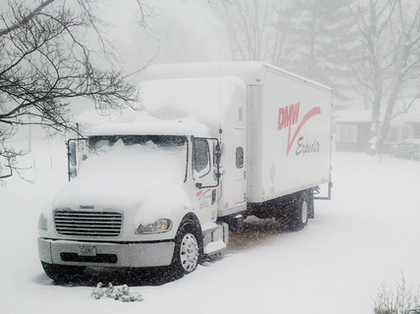 """Don Lanier's Freightliner Business Class M2 expediter parked through the weather -- """"just outside St. Louis."""""""