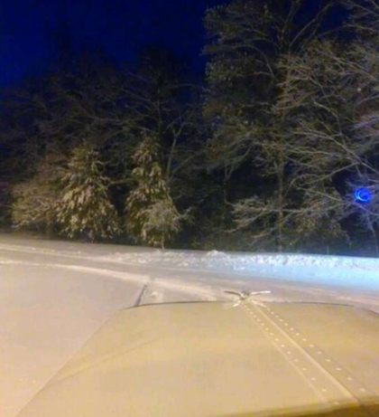 This last of the three preceding shots came from the phone camera of driver Jeff Sirvas, finally reaching a rest area on an interstate near Effingham, Ill., as the road was closed.