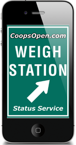 To use the CoopsOpen.com weigh station status alert app, download the iPhone or Android version via your phone's app marketplace, then register for your free via CoopsOpen.com. Then use the created login and password combo to use the app.