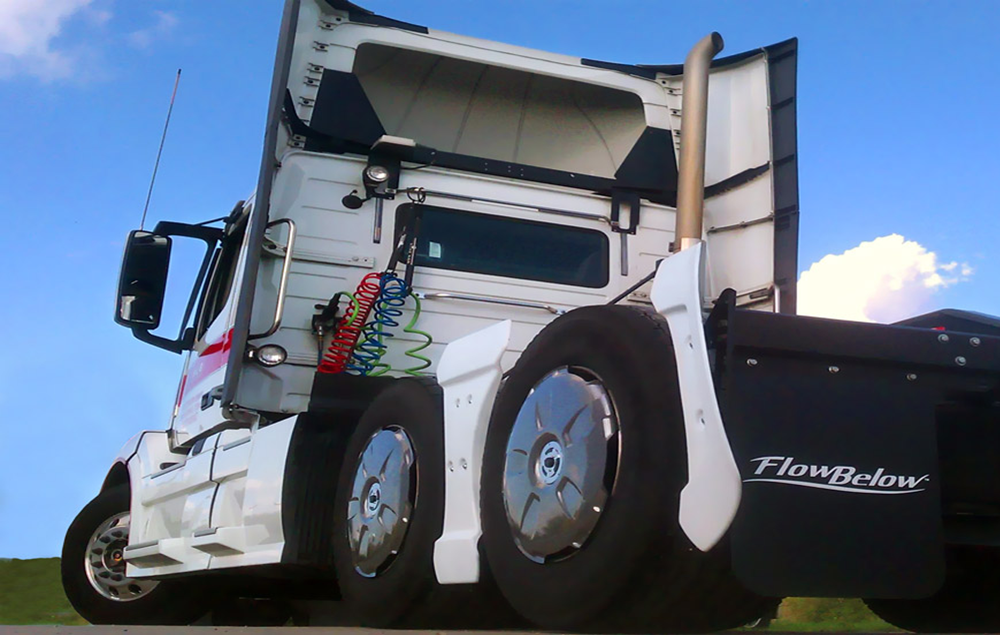 FlowBelow's Tractor AeroKit system of aerodynamic devices includes wheel covers and is designed to work with many different wheel and tire configurations, including super singles.