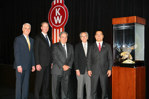 From left: Gary Moore, Kenworth general manager and Paccar vice president; Preston Feight, Kenworth assistant general manager for sales and marketing; and Wisconsin Kenworth/CSM Companies executives Bob Sorrentino, Curt Collins and Jim Moeller.