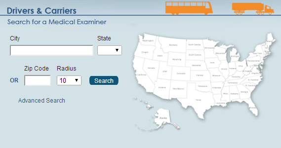 Photo of a Map on the National Registry of Certified Medical Examiners Website