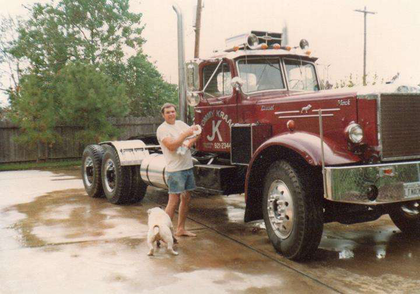 Tom Kraak and his 1952 Mack, as well as a two-year-old Jonathon Kraak.
