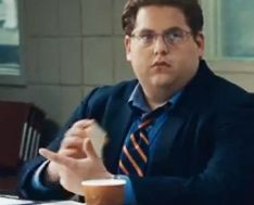 """Jonah Hill plays the character in """"Moneyball"""" who convinces the manager played by Brad Pitt that he should recruit players based on a close examination of their personal data."""