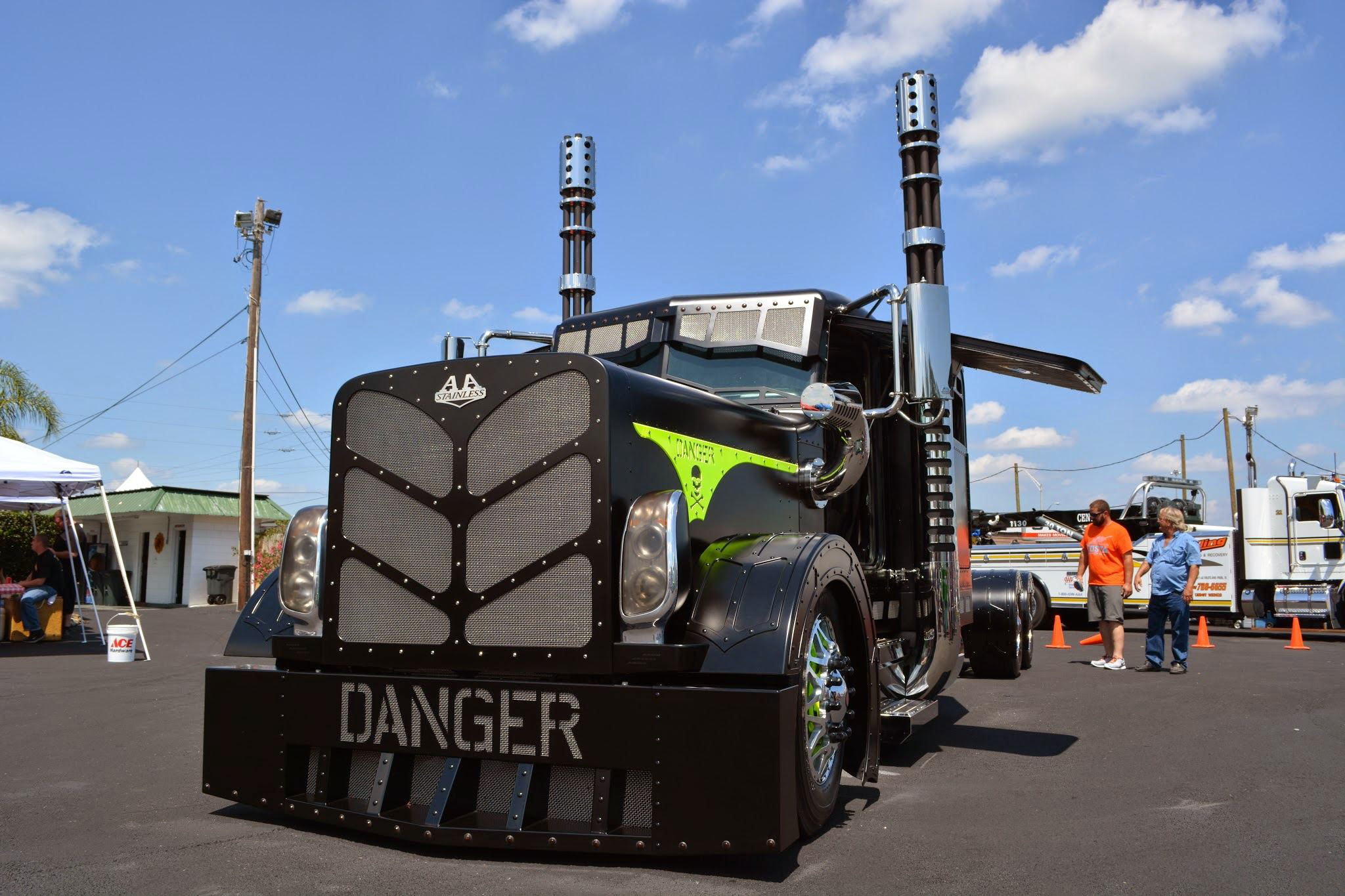 """Armando Garcia's 1997 Peterbilt 379, named """"Danger"""", won First in the Builder's Class category."""