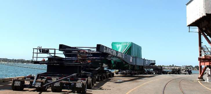 """The custom 43-axle trailer built to accommodate the STG comes in at """"362-ft long with trucks and"""" a maximum carrying capacity of 800,000 lbs., said Rabaino, the biggest trailer Contractors Cargo has ever built and used."""