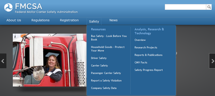 FMCSA 2014 website revision screenshot