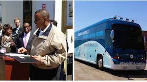 Secretary Anthony Foxx is on an eight-state tour in the Invest in America bus, making about 15 stops to push for a long-term highway funding plan.