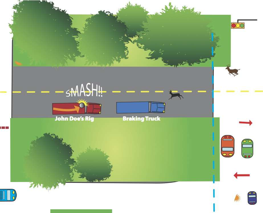 Hard braking causes small load to come loose — Could trucker have prevented it?