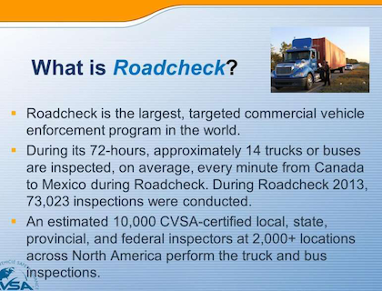 During the 72-hour Roadcheck program, in operation now for nearly two decades, noted Barrs, approximately 14 trucks and buses are being inspected every minute of the day somewhere in the U.S. and Canada.