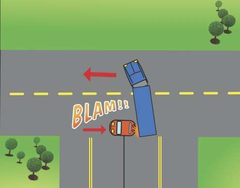 Quick-footed motorist clips rig's trailer — could the trucker have prevented it?