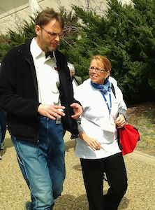 Grenerth with FMCSA's Anne Ferro during the Trucking Solutions Group's Driver Health Council walk-and-talk at MAT in 2013.