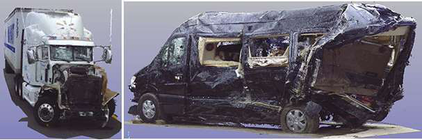A 3D laser rendering from NTSB of the two key vehicles involved in the June 7 crash.
