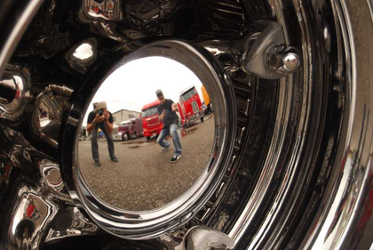 The chromed original Dayton wheels on Robb Mariani's 1974 Ford W9000 hot rod, which we profiled at this link following the rig's win in the Show Truck class at SuperRigs this year, have turned more than a few heads already.