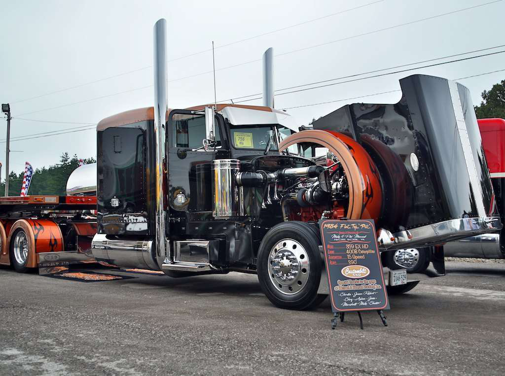 Mike Manuel's 1984 Peterbilt 359 and matching flatbed won Best of Show in the Limited-Mileage Combo category.