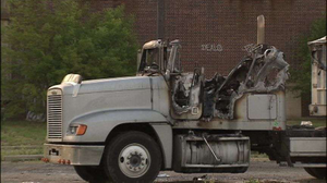 Boeglin's truck, after authorities put the fire out. (Photo from Fox 2 Detroit)