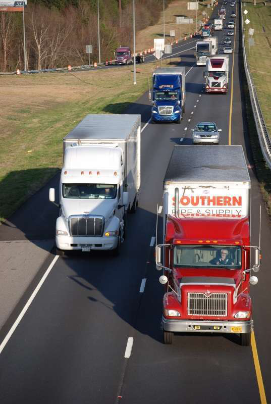Trucks on highway 2