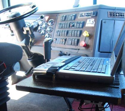 laptop in cab
