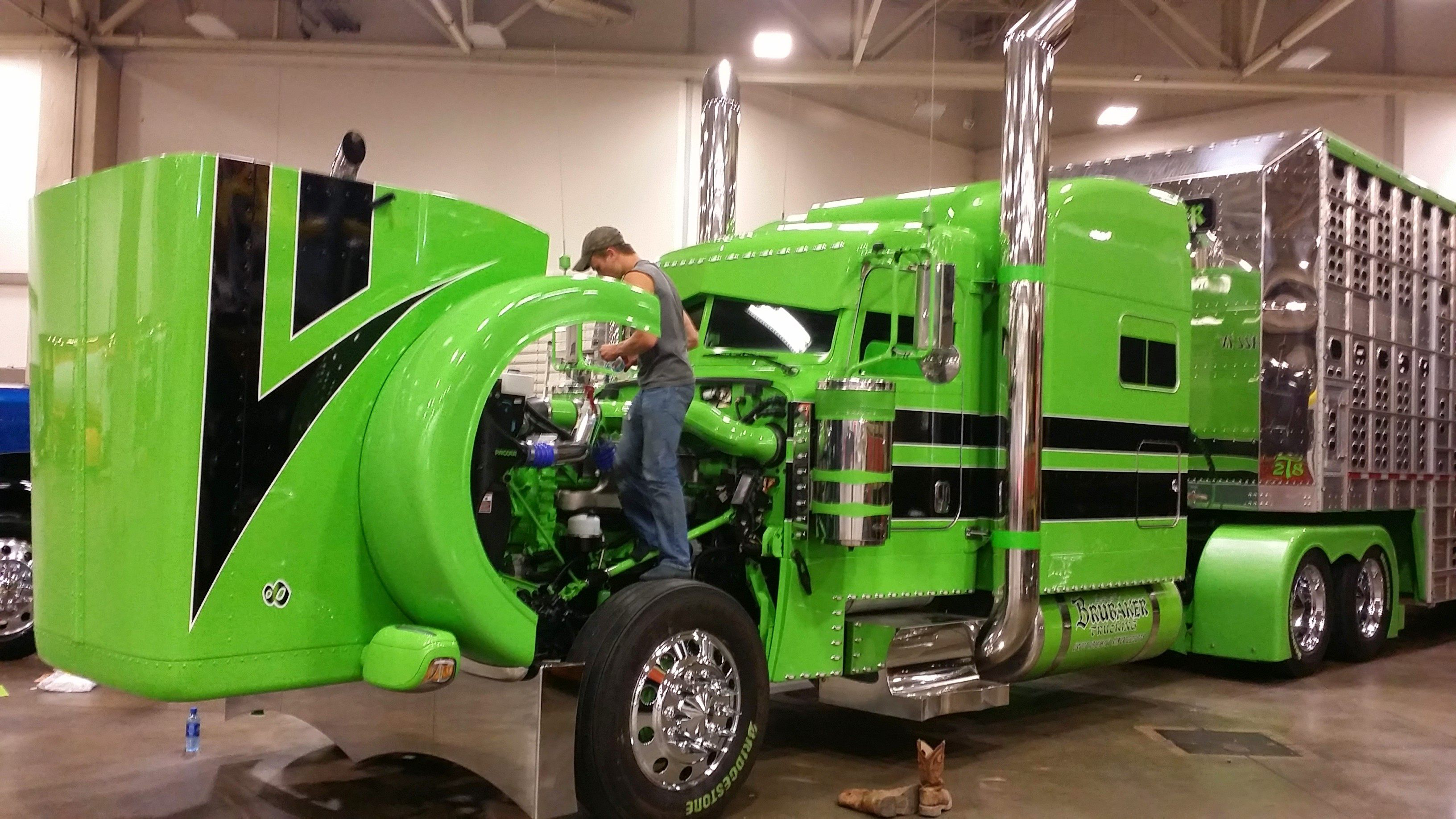 Brubaker's 2014 Peterbilt 389 and Wilson livestock trailer are competing in the LImited-Mileage Combo category.
