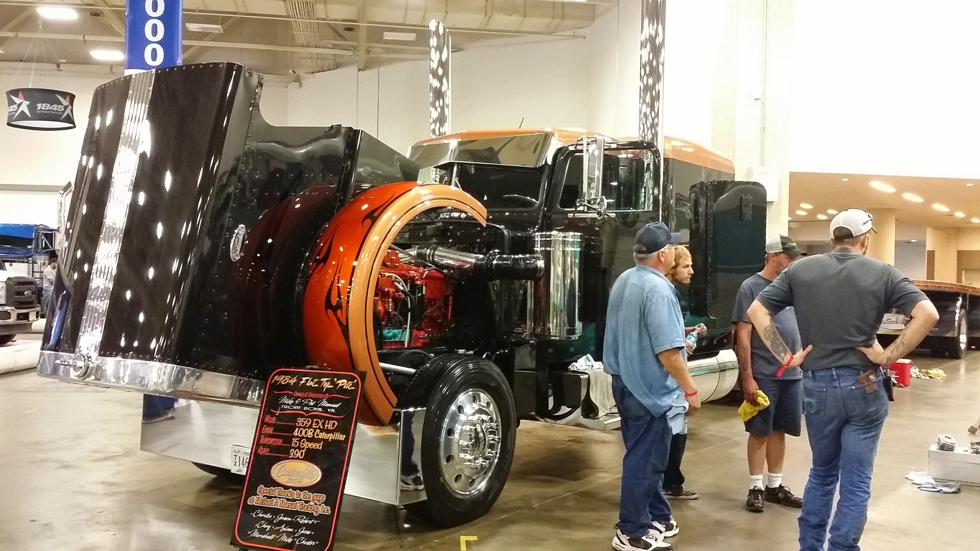 Mike Manuel's 1984 Peterbilt 359, competing in the Working Combo category in the Pride & Polish National Championship.