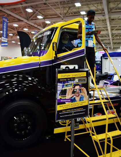Can you picture yourself behind the wheel of a ChampTruck? Great American Trucking Show attendees got a look at it at the Overdrive booth.