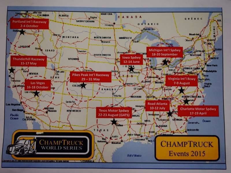 The map and dates of next year's ChampTruck truck racing circuit.