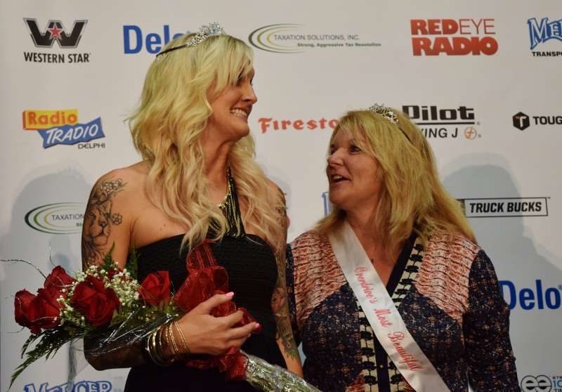 2014 Overdrive's Most Beautiful winner Emily Weymouth, left, was officially crowned the contest's winner at GATS by last year's winner, Maggie Stone.