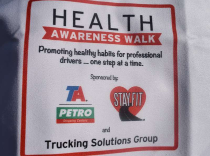 The Trucking Solutions Group of owner-operators conducted its annual GATS Health Awareness Walk this morning, Aug. 23, with a sizable group of participants. Sponsoring organizations in addition to TA Petro and the StayFit program included Swiftwick compression socks designed to maintain blood flow in the lower extremities. Health Walk participants could claim a free pair of the socks at the Swiftwick booth at the Great American Trucking Show.