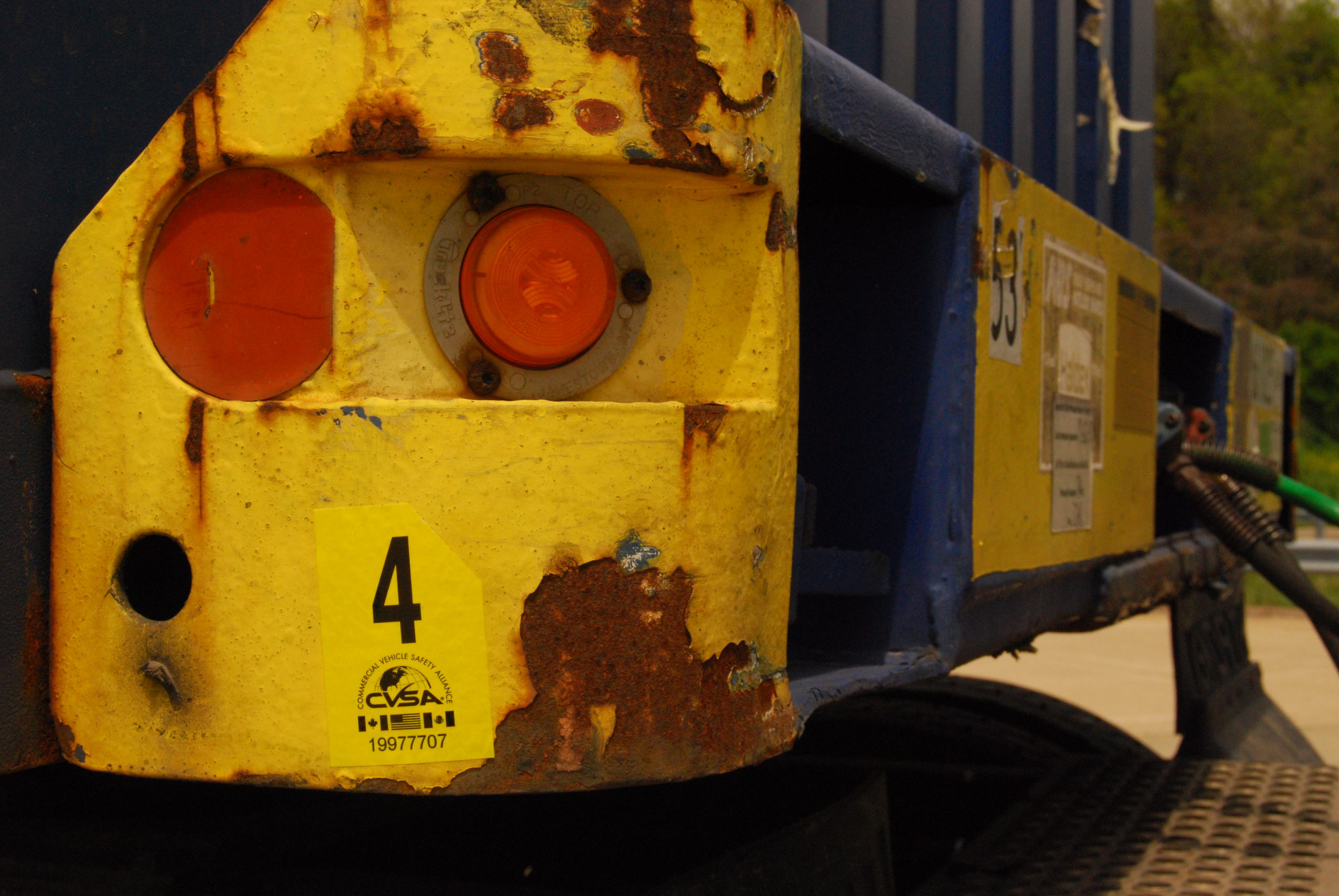 Container chassis clean inspection sticker