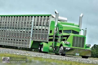 Dan Brubaker's 2014 Peterbilt 389 glider and Wilson livestock trailer