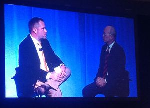 CCJ's Jeff Crissey talking economic trends after Donald Broughton's presentation at the 2014 Commercial Vehicle Outlook Conference preceding this year's Great American Trucking Show.