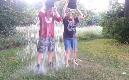 Wendy and George under the ice bucket