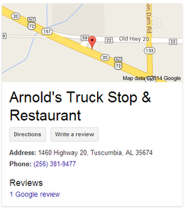 Find an online listing for Arnold's Truck Stop via this link.