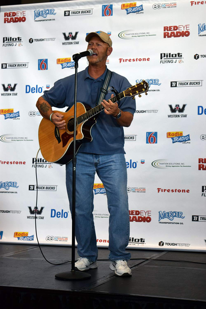 Sampson performing at the Trucker Talent Search