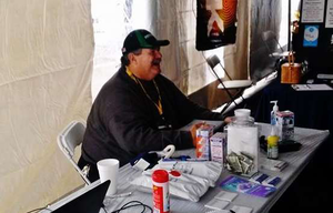Driver Bob Stanton at the 2014 Mid-America Trucking Show, where his Truckers for a Cause sleep-apnea support group conducted apnea risk screenings.