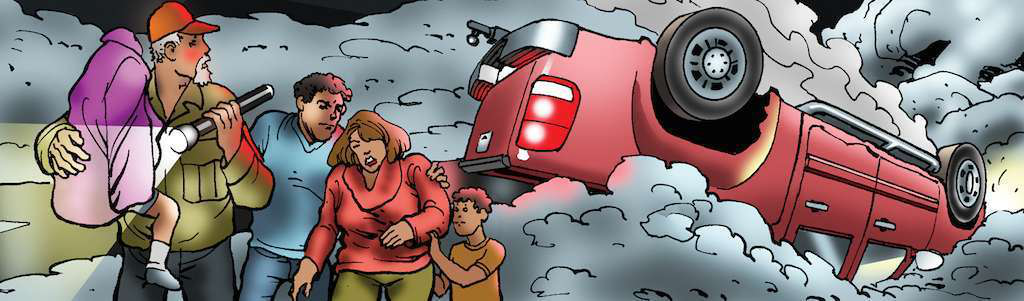 ...And evacuates the three dazed, bleeding family members from the smoking vehicle!