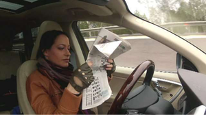 Driving Miss Bubble Witch in the autonomous sedan