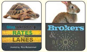 "Catch both Tortoise and Hare in two podcasts now part of Kevin Rutherford's AudioRoad Network on BlogTalkRadio.com – Rico Muhammad hosts the ""Rates & Lanes"" podcast Wednesday nights, and the new Brokers & Beyond show on Thursdays most weeks is hosted by Chad Boblett with a guest broker for each episode answering questions from callers. Both are recorded live, then available for later"