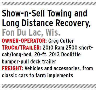 car mobile equipment hauling owner operator greg cutler 39 s show n sell towing recovery. Black Bedroom Furniture Sets. Home Design Ideas