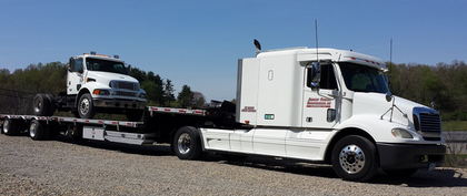 'HOTSHOT ON STEROIDS': That's what Sue Nelson of Ohio-based Straight Forward Transportation calls this single-drive-axle Freightliner, driven primarily by her husband, Kevin. It's complemented by a Ford F250 diesel in which Sue occasionally runs a load in addition to handling all the back-office functions for the couple's small fleet.