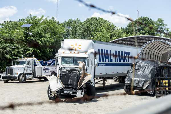 The Walmart Transportation truck following the June 2014 crash.
