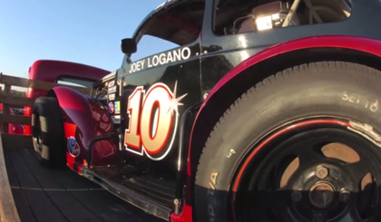 VIDEO: Tom Logano's antique Mack toting his son Joey's first Legends car